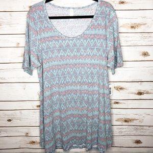 Lularoe Perfect T 2XL blue orange zigzag tunic NWT